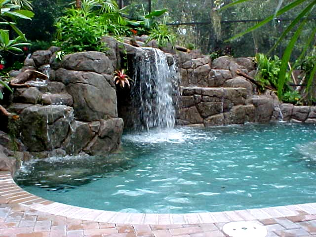 Backyard Swimming Pool Waterfall